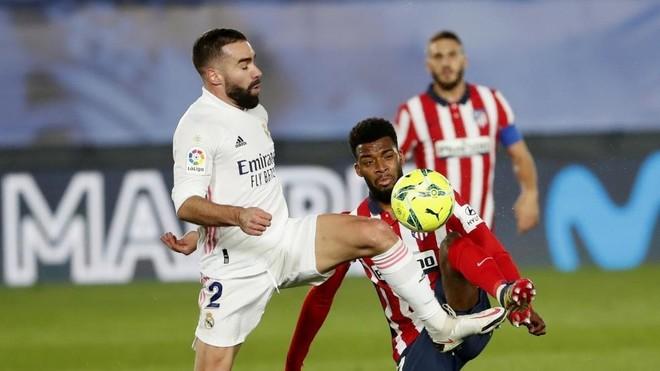 Carvajal, durante el derbi Madrid-Atleti
