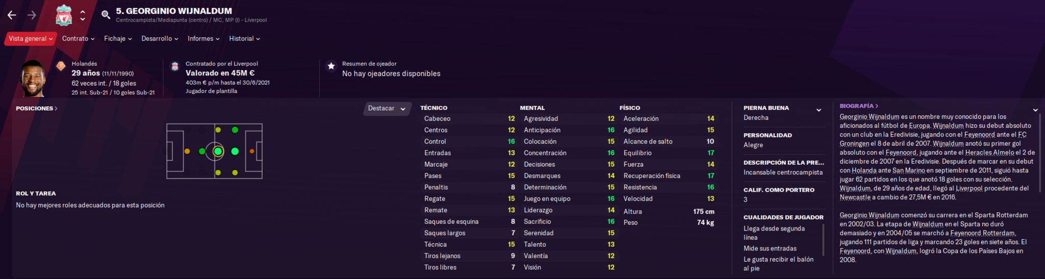 Estadísticas de Wijnaldum en Football Manager 2021