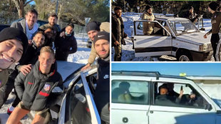 Carrasco, Vrsaljko, Hemoso y Lemar van a entrenar en pleno temporal... ¡en un Panda!