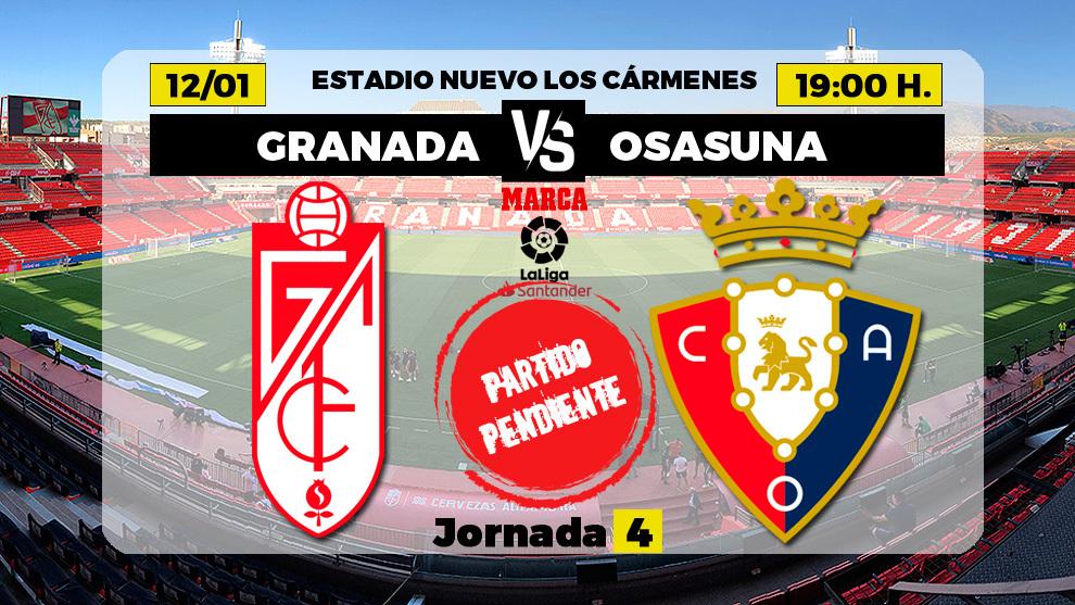 Granada - Osasuna: horario y donde ver por TV hoy el partido aplazado...