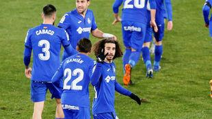 Cucurella celebra el primer gol del Getafe