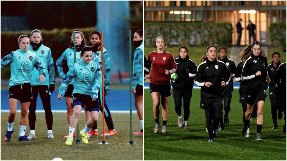 Jugadoras del Levante y EDF Logroño en el entrenamiento previo a las...