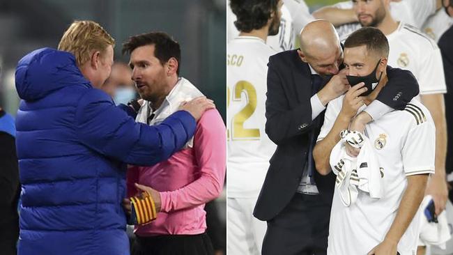 Koeman habla con Messi y Zidane con Hazard