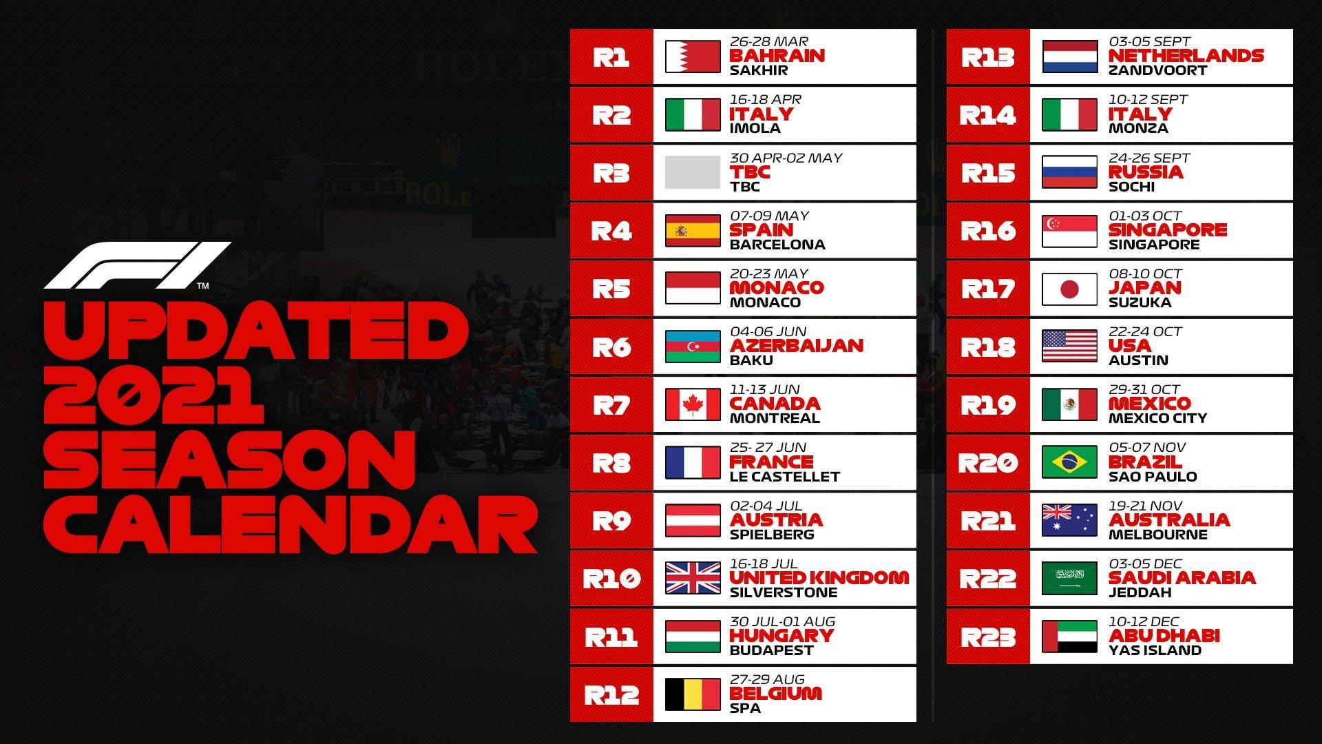Calendario F1 2021: Carreras, circuitos y Gran Premio del calendario 2021  de Fórmula 1 | Marca