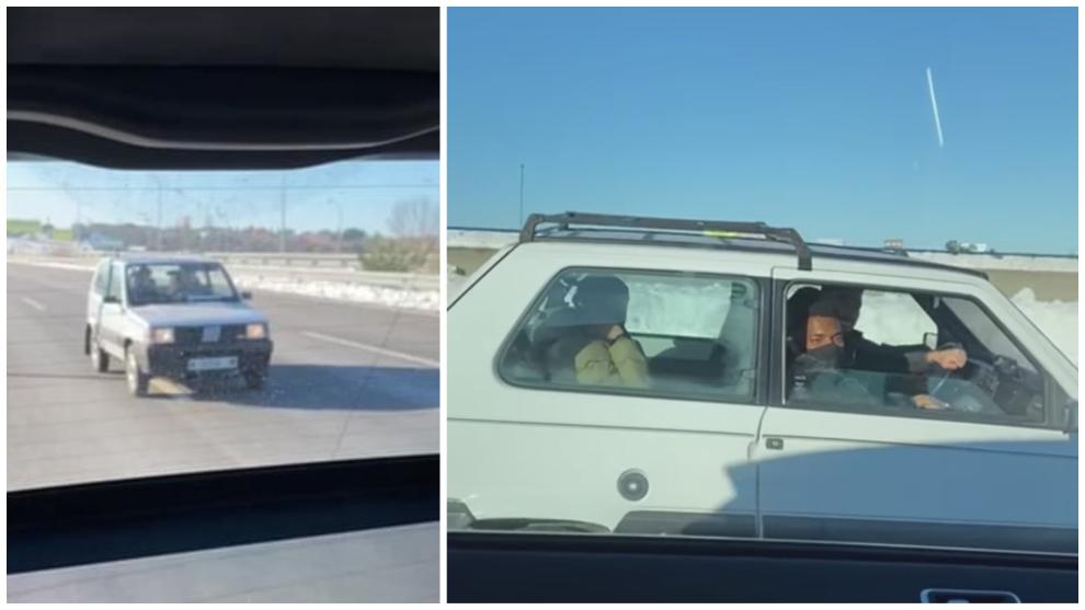 Vrsaljko, Lemar, Mario Hermoso y Carrasco circulan por la M-40 en un Fiat Panda 4x4.