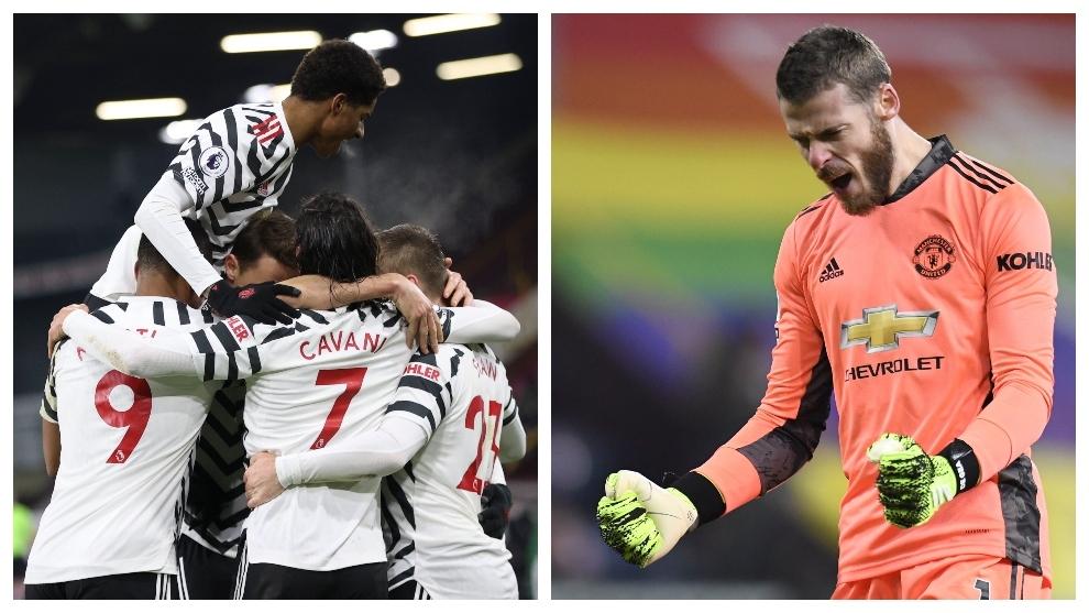 Los jugadores del United, con De Gea a la cabeza, celebran el triunfo...