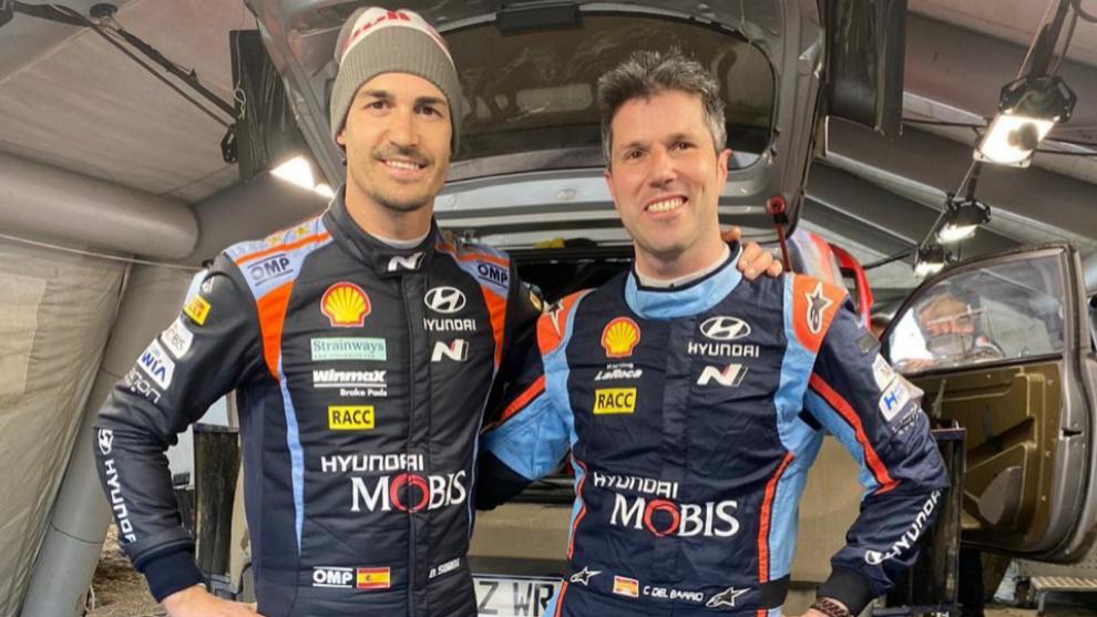 Dani Sordo y su nuevo copiloto para esta temporada, Borja Rozada.