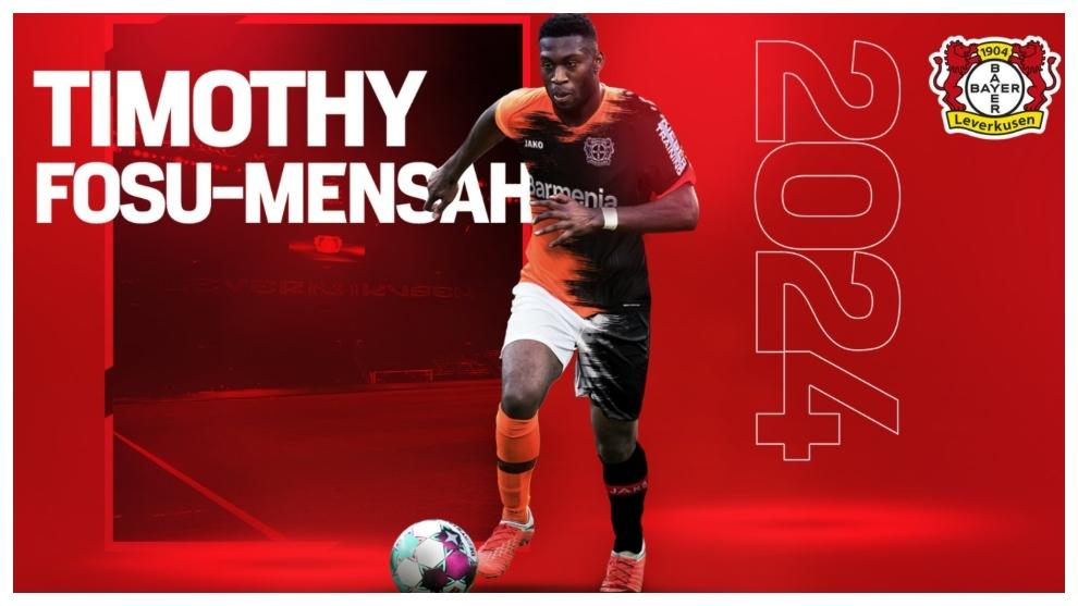 Montaje de Fosu-Mensah con la camiseta del Leverkusen.
