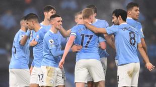 Festejo del Manchester City tras el gol de Phil Foden al Brighton.