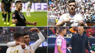 Jovic, en el Eintracht y en distintos momentos de su etapa en el...