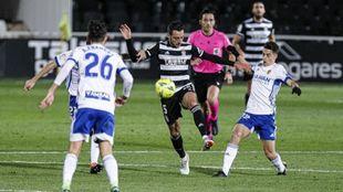 Sergio Aguza, en Cartagonova durante el partido ante el Zaragoza