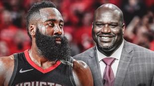 James Harden, nuevo jugador de los Nets, y Shaquille O'Neal,...
