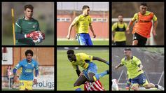 Domínguez, Pipo, Moleiro, arriba; Coco, Miguélez y Clau Mendes,...