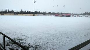 Los campos nevados de la Ciudad Deportiva Andrés Iniesta del Albacete
