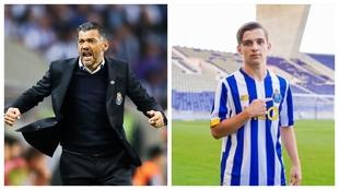 A la izquierda, Sergio Conceiçao celebra un gol. A la derecha, su...