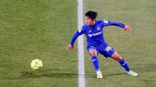 Takefusa Kubo, en el partido de su estreno con el Getafe ante el...
