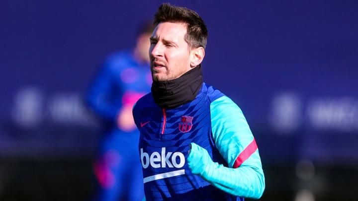 Messi durante un entrenamiento  