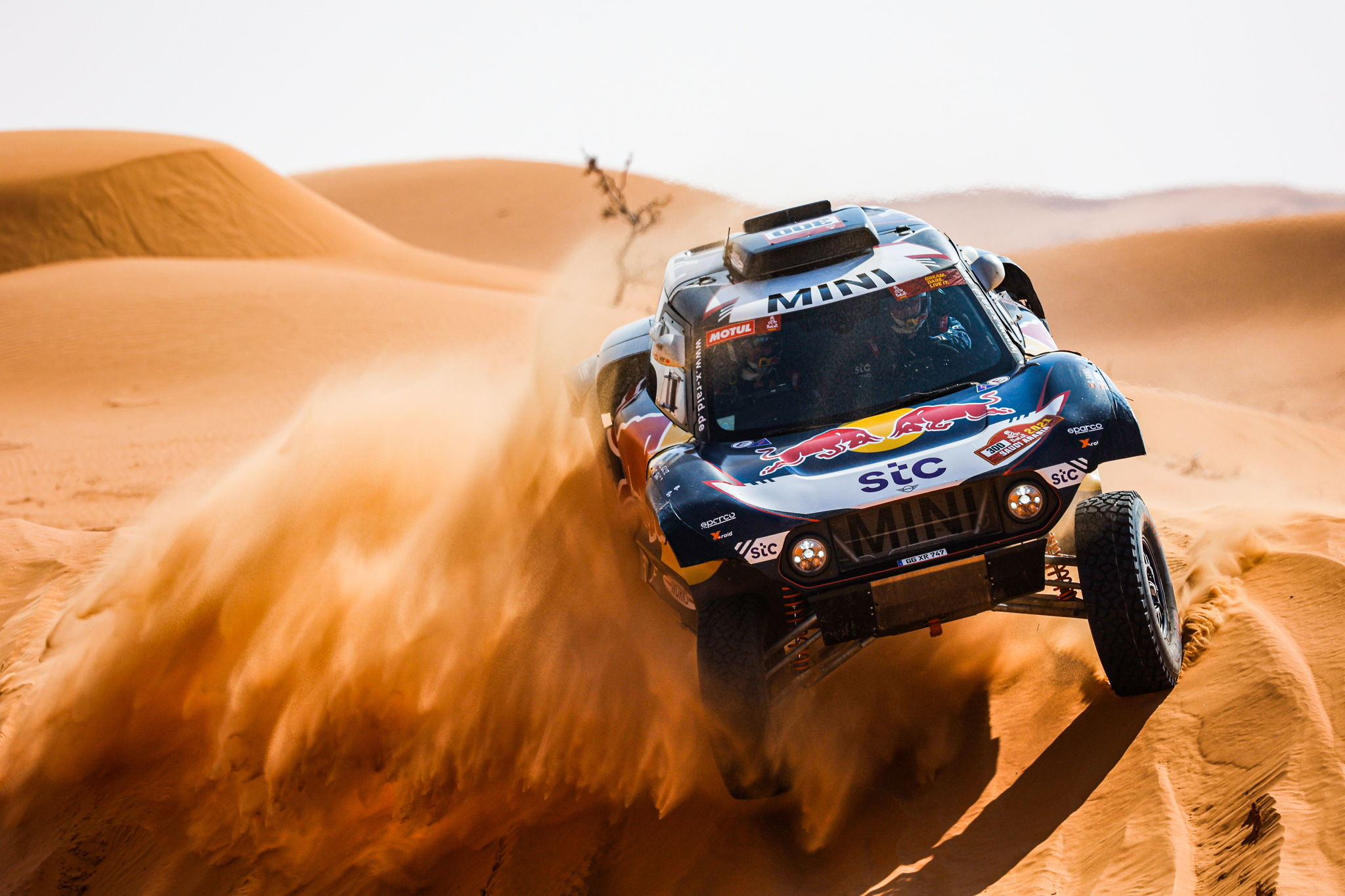 (Saudi Arabia), 08/01/2021.- A handout photo made available by ASO of Carlos lt;HIT gt;Sainz lt;/HIT gt; and Lucas Cruz Lucas of Spain, Mini, X-Raid Mini JCW Team, in action during the 6th stage of the Dakar 2021 between Al Qaisumah and Hail, in Saudi Arabia on January 8, 2021. (Arabia Saudita, España) EFE/EPA/Florent Gooden HANDOUT via ASO SHUTTERSTOCK OUT HANDOUT EDITORIAL USE ONLY/NO SALES/NO ARCHIVES