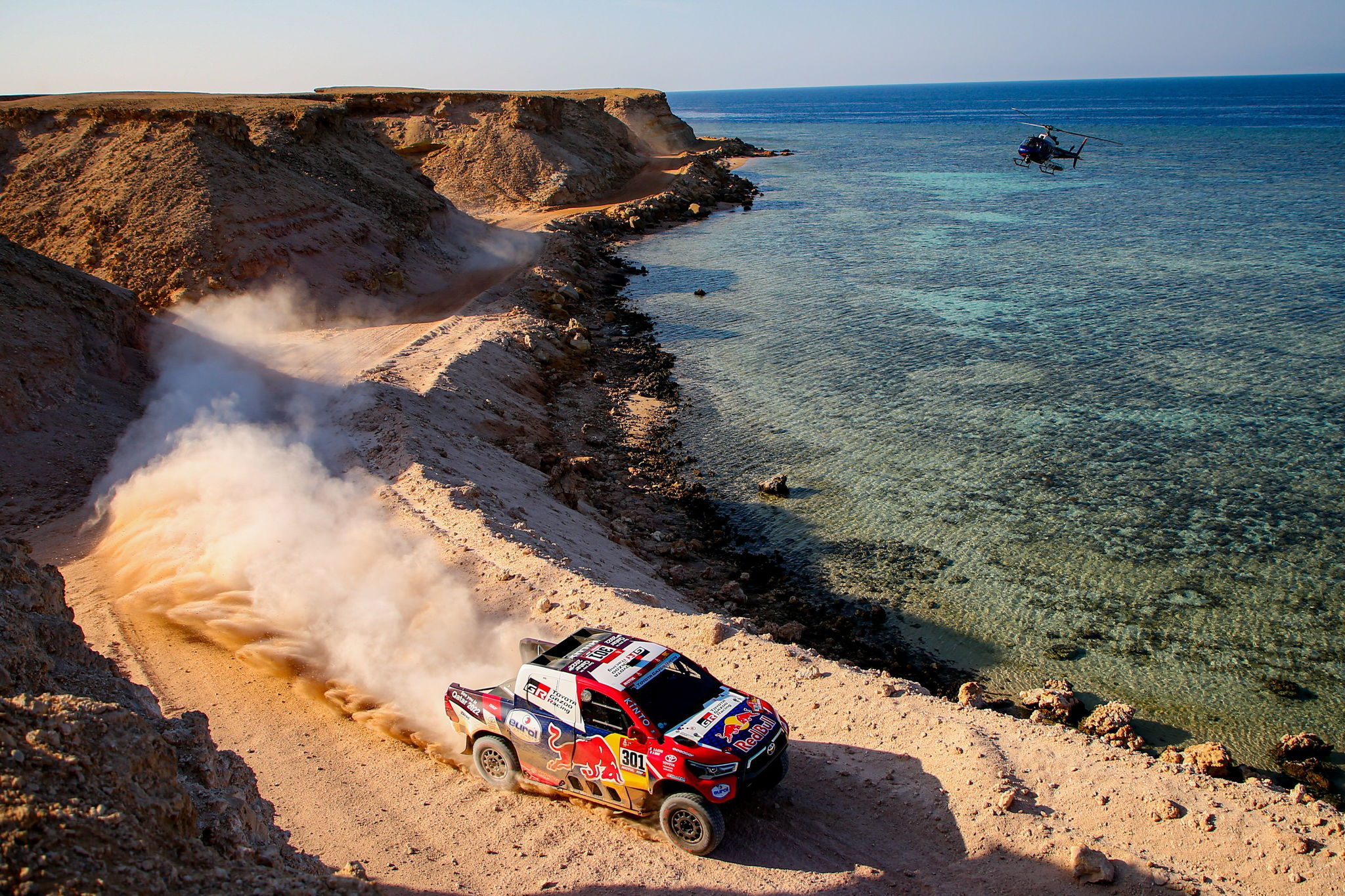 (Saudi Arabia), 12/01/2021.- A handout photo made available by ASO of Nasser Al- lt;HIT gt;Attiyah lt;/HIT gt; Nasser of Qatar and Matthieu Baumel of France, Toyota, Toyota Gazoo Racing, in action during the 9th stage of the Dakar 2021 between Neom and Neom, in Saudi Arabia, 12 January 2021. (Francia, Arabia Saudita, Catar) EFE/EPA/Julien Delfosse HANDOUT via ASO SHUTTERSTOCK OUT HANDOUT EDITORIAL USE ONLY/NO SALES/NO ARCHIVES