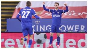 James Maddison celebrates goal