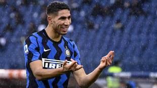Achraf Hakimi, en un partido con el Inter de Milán.