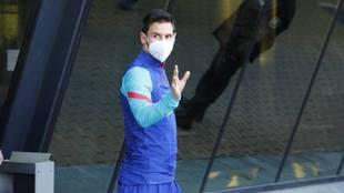 Leo Messi, antes de un entrenamiento