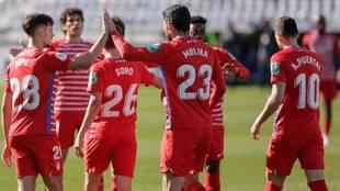 Los jugadores del Granada celebran el tanto de Jorge Molina.