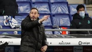 Vicente Moreno da una indicación en un partido del Espanyol.