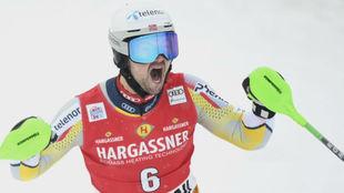 Foss-Solevaag tras lograr su primera victoria en la Copa del Mundo.