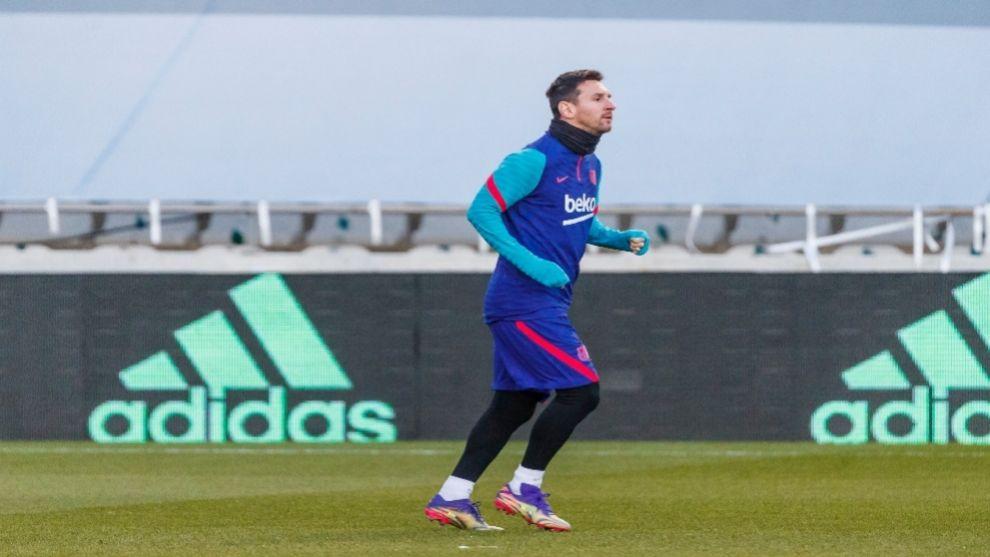 Messi, en un entrenamiento de esta semana.