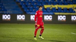 Àlex Domínguez, durante un partido de Las Palmas