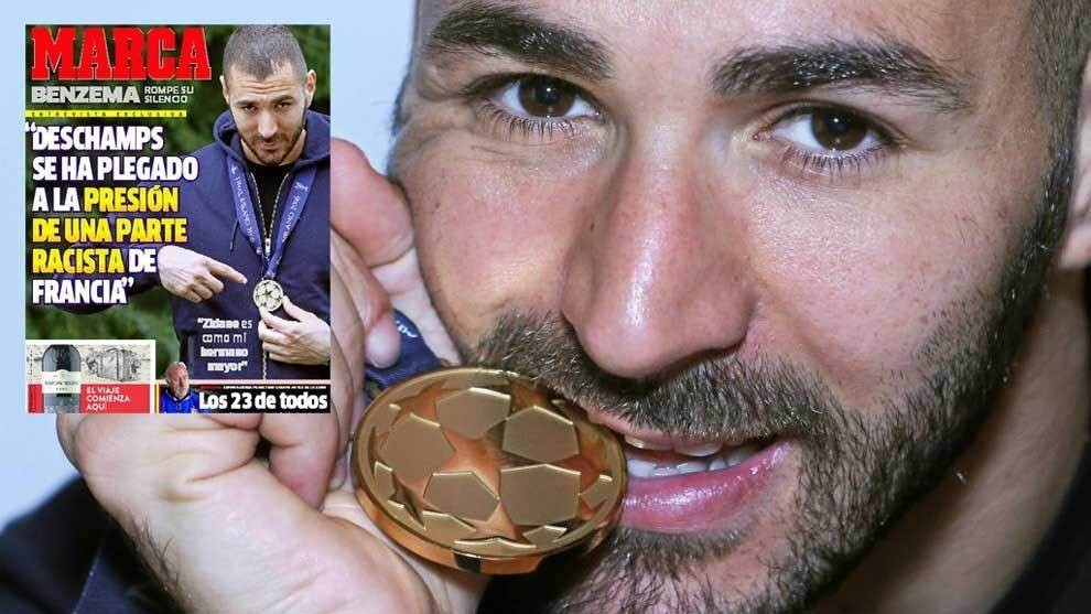 Benzema posing for MARCA