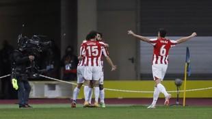 Los jugadores del Athletic celebra un gol en la fina de la Supercopa.