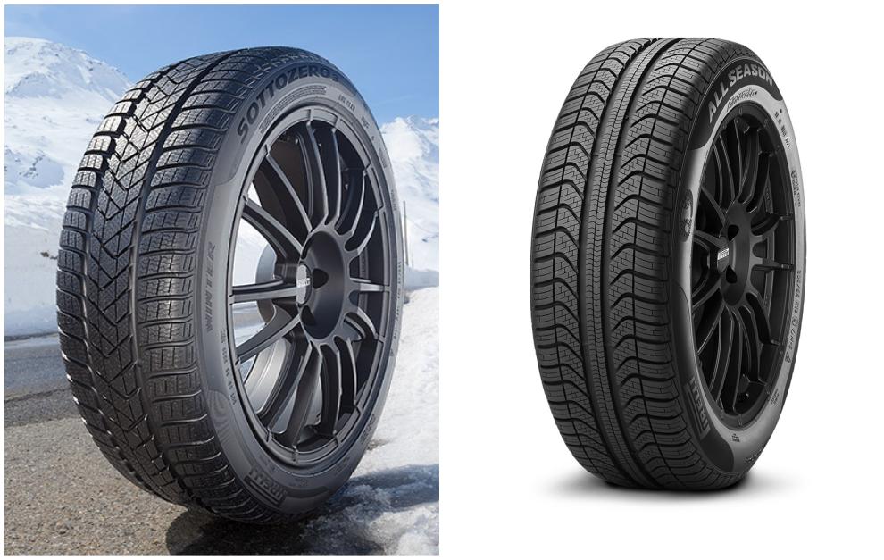 El Pirelli Winter Sottozero 3 (de invierno) y el Cinturato All Season Plus (todo tiempo).