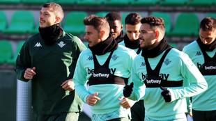 Guido, con Joaquín y Sanabria en un entrenamiento