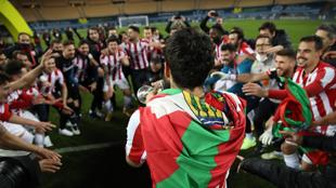 Villalibre y sus compañeros celebran el tanto del Athletic Club.