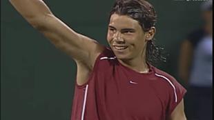 Nadal en marzo de 2004 tras ganar a Federer en Miami.