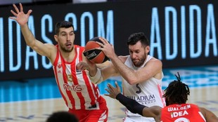 Rudy Fernández penetra a canasta entre la defensa de Ognjen Dobric y...