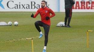 Darío Poveda, en un entrenamiento del Atlético