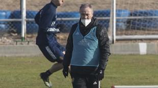 JIM durante el entrenamiento de ayer con el Real Zaragoza.