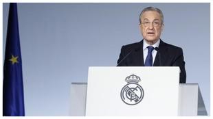 Florentino Pérez, durante la reciente asamblea telemática del Real...