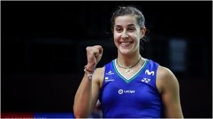 Carolina Marín, celebrando una victoria en Tailandia.