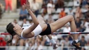 María Lasitskene, durante una competición.