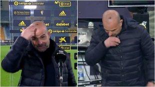 Paco López se abrió la cabeza en el banquillo visitante del Carranza