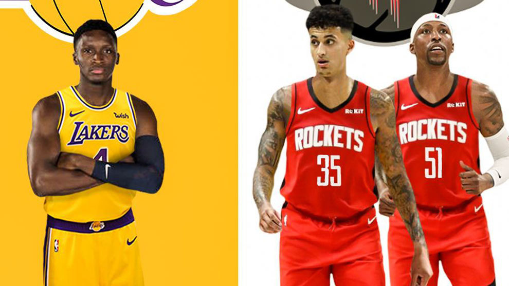 Oladipo con la camiseta de los Lakers; Kuzma y KCP con la de los...