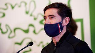 Marcelino, durante su intervención en la Diputación Foral tras ganar...