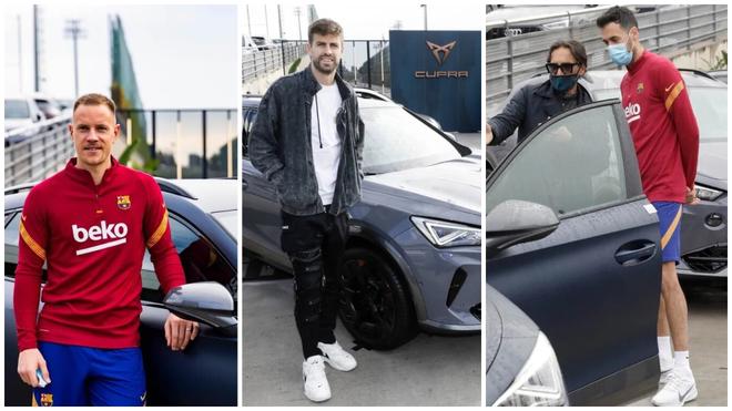 Ter Stegen, Piqué y Busquets, con sus nuevos coches de la marca...
