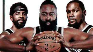 Irving, Harden y Durant en un cartel promocional