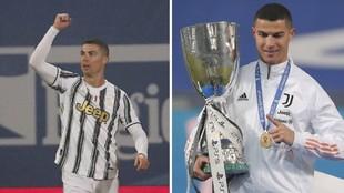 Cristiano celebra la Supercopa de Italia con la Juventus
