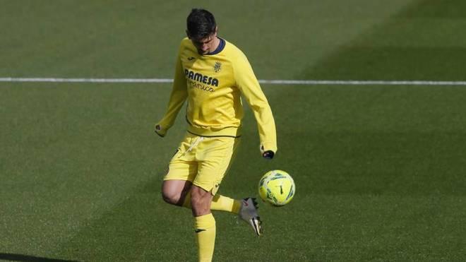 Gerard Moreno, durante un calentamiento en un partido del Villarreal.